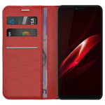 Leather Wallet Case & Card Holder Stand for Oppo R15 Pro - Red